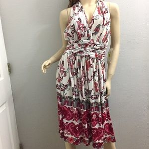 $99nwt EVAN PICONE 14 halter Red White jersey dres